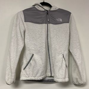 NICE North Face White Fuzzy Zip Up Jacket